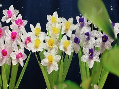 23.2: Làm hoa thủy tiên bằng giấy nhún - Narcissus paper flower tutorial