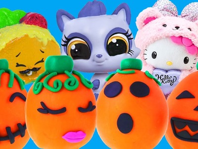 5 Halloween Surprise Play Doh Pumpkin Eggs DCTC Opening Shopkins Hello Kitty Littlest Pet Shop Toys
