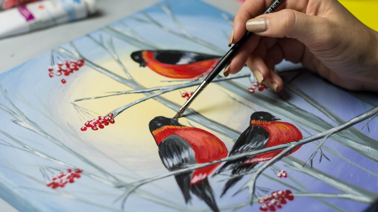Bullfinches in winter forest - Acrylic painting. Homemade Illustration