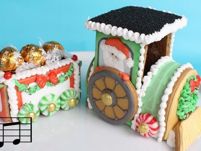 Decorating 3D Gingerbread Train Cookie Kit with royal icing - Fast Instrumental Version