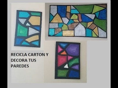 DIY CUADROS DE CARTON Y PASTA DE PAREDES. wall art made with cardboard and Drywall joint compound