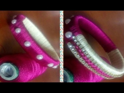 DIY  || Making of Designer Silk Thread Bangles With two color # multi Colour Bangles || Double color