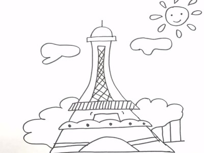 Drawing and Coloring Pages Eiffel Tower, Drawing and Art Colors for Kids, Learn Colors