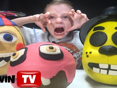 FNAF Triple 3D PlayDoh Eggs Balloon Boy|Golden Freddy|Cupcake