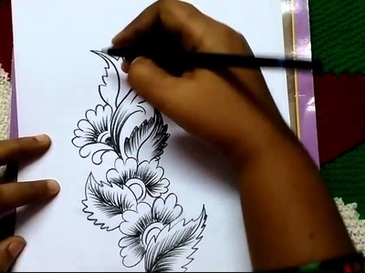 Free Hand Corner design with charcoal pencil - I By Premlata