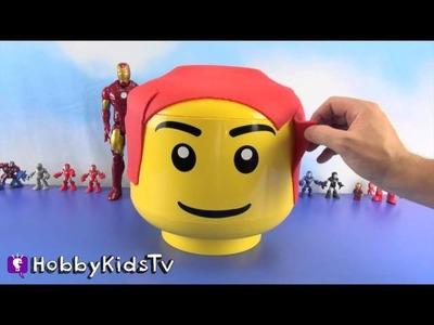 GIANT Play-Doh IRONMAN Lego Head Makeover + Surprise Egg Box Open by HobbyKidsTV