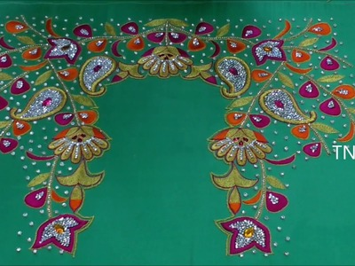 Hand embroidery tutorial for beginners | hand embroidery designs, maggam work blouse designs