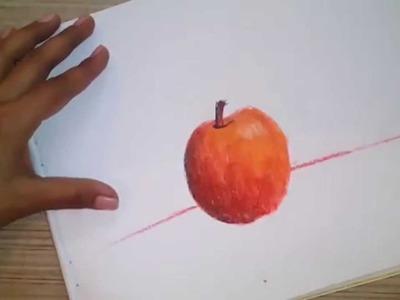 How to color a realistic apple using soft pastels