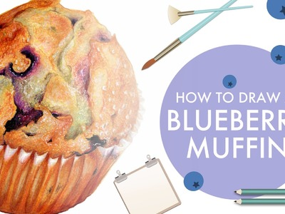 How to Draw a Blueberry Muffin