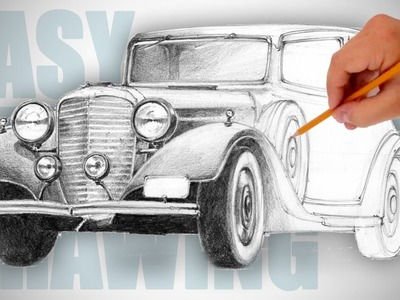How to draw a retro car - Easy Perspective Drawing 18