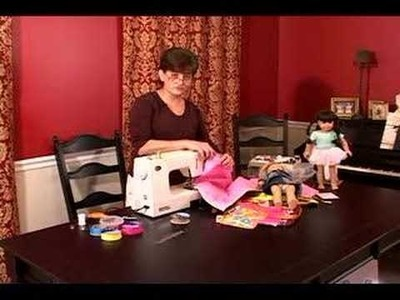 "How to Make a Sleeping Bag for an ""American Girl"" Doll : How to Sew Ribbon to Upper Half of Doll Sleeping Bag"