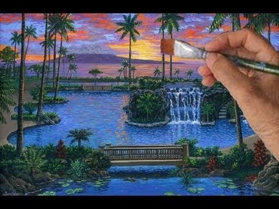 How to paint Swimming Pool Complete Video Waterfall Acrylic Liquitex Tubes Art Class Instructions