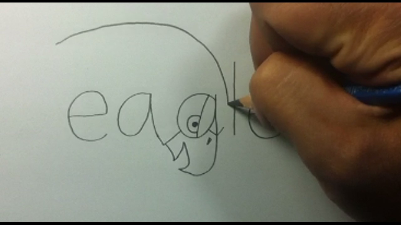 """How to turn word """"eagle"""" to a cartoon eagle."""