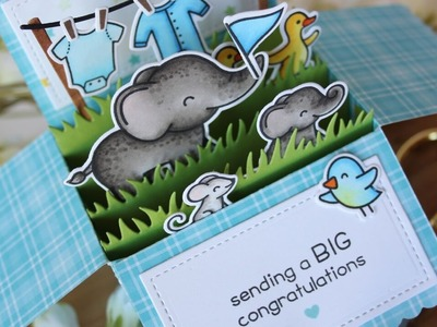 Lawn Fawn | Scalloped Box Card Pop Up + Elphie Selphie