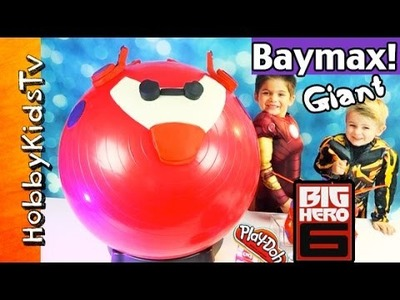 Mega GIANT Play-Doh BAYMAX FLYING Surprise Egg Head! Big Hero 6, Disney Cars, HobbyKidsTV