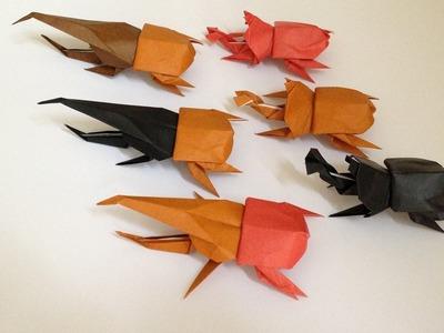 Origami Beetle (back(body) 3D instructions 折り紙 カブトムシ ヘラクレスオオカブト 立体体後ろ折り方
