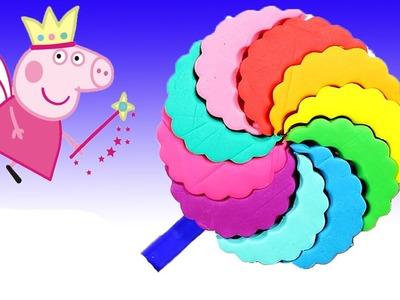 Play Doh - Creations rainbow lollipop ice-cream for peppa pig Español videos