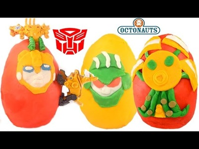 PLAY-DOH TRANSFORMERS, BUMBLEBEE, BOULDER, OCTONAUTS THE SEA SLIMED OCTOPOD SURPRISE EGGS KIDS TOYS