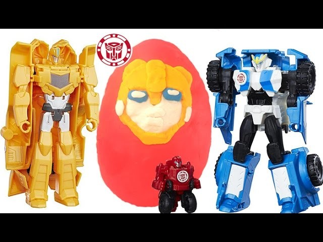 PLAY DOH TRANSFORMERS BUMBLEBEE SURPRISE EGG, ROBOTS IN DISGUISE, CLASH TRANSFORMERS, STRONGARM TOYS