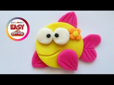 "Pretty Colorful Fish  - COLOURING PAGE with ""EASY PLAY DOH"""