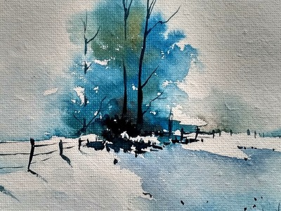 Snowy Winter Landscape with watercolor | Paint with david