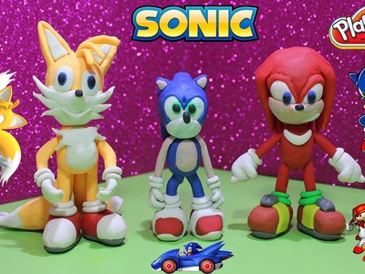 Sonic and Friends Knuckles - Tails with Play Doh and Plastilina Cartoon Characters Tutorial