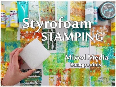 Styrofoam Stamping Mixed Media Backgrounds Technique for Beginners  ♡ Maremi's Small Art ♡