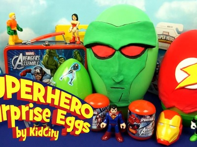 SuperHero Play-doh Surprise Eggs with Imaginext Batman Toys, Spiderman and Avengers Toys by KidCity