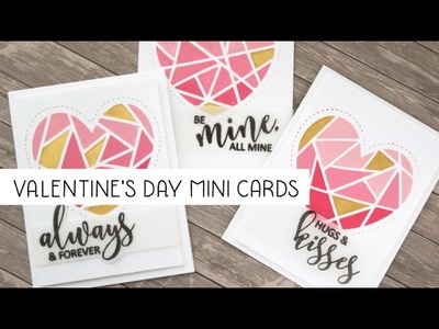 Valentine's day masked heart cards colored with acrylic paint and Nuvo mousse