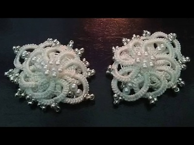 Winter flower earrings (Tatting,Frivolité, Orecchini, Фриволите,Encaje, 梭織) FREE PATTERN