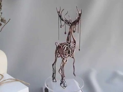 Wire copper Deer - metal sculpture