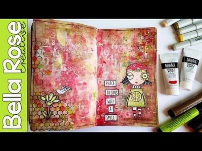 Working with Digital Stamps + Brayer + Heavy Body Acrylics - Mixed Media Art Journal