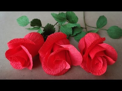 ABC TV   How To Make Rose Paper Flower From Crepe Paper - Easy Craft Tutorial