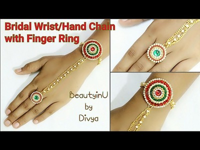 Bridal Wrist.Hand Chain With Finger Ring|How to make Designer Silk Thread Wrist Chain|DIY