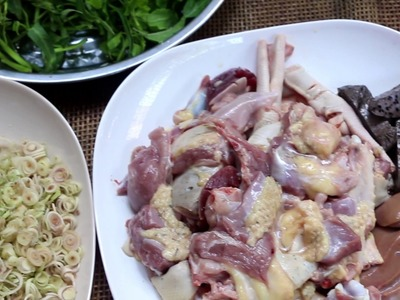 Cooking Asian Popular Food, How To Make Fried Hot And Spicy Duck With Morning Glories