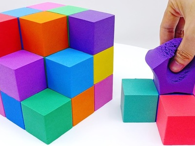 DIY How to make Kinetic Sand Cake Giant Rainbow Cube Learn Colors