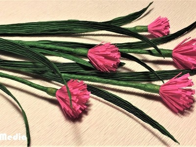 HLSS Media|how to make origami chives paper flower|chives paper flower making with crepe paper easy