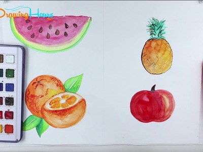 How to Draw Watercolor Fruits, Coloring Pages for Kids | By DrawingHours