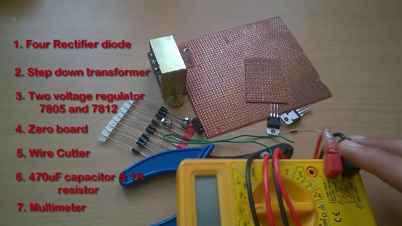 How to make a 5v or 12v power supply adapter || AC to DC converter || Rectifier