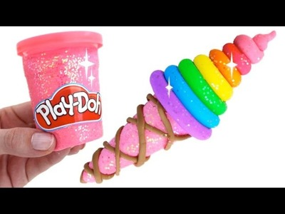 How to Make a Play Doh Rainbow Ice Cream & Cone Learn Colors