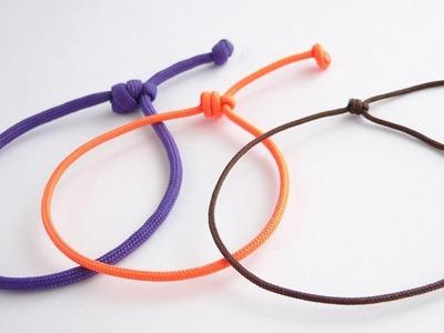 "How to Make a Simple Single Strand  Friendship Sliding Knot Bracelet ""Paracord"" DIY 2017"