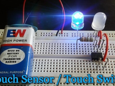 """How to make a """"Touch Sensor"""" using 555 Timer IC on Breadboard [HD]"""