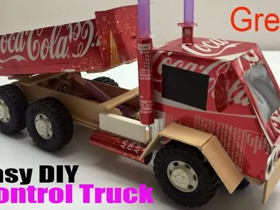 How to make a Truck at home - Car Remote Control using coca cola (Electric Truck)