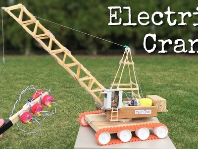 How to Make an Electric Crane with Remote Control out of Popsicle Sticks - incredible Toy