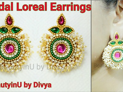 How to make Bridal Loreal Silk Thread Earrings.Paper Earrings.Bridal Earrings.Silk Thread Jewellery