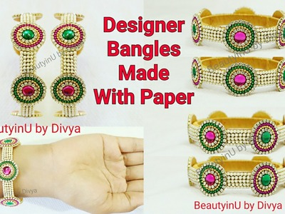 How to make Designer Bridal Silk Thread Bangles with Paper at Home | Silk Thread Jewellery |Tutorial