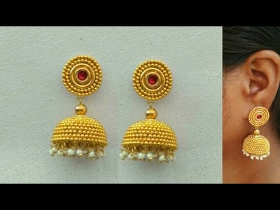 How To Make Designer Earrings. How To Make Silk Thread Earrings. Paper Jewellery Making.DIY