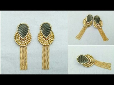 How To Make Designer Earrings. Bridal Hangings. Paper Jewellery Making. paper jewelry. DIY