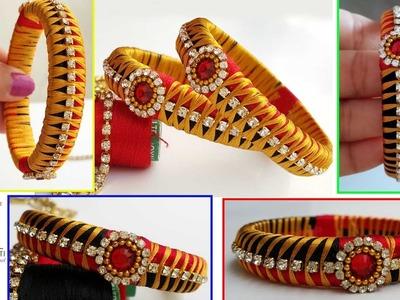 How to make Fishtail Silk Thread Designer Bangles - Fishtail Model Silk Thread Bangle Design