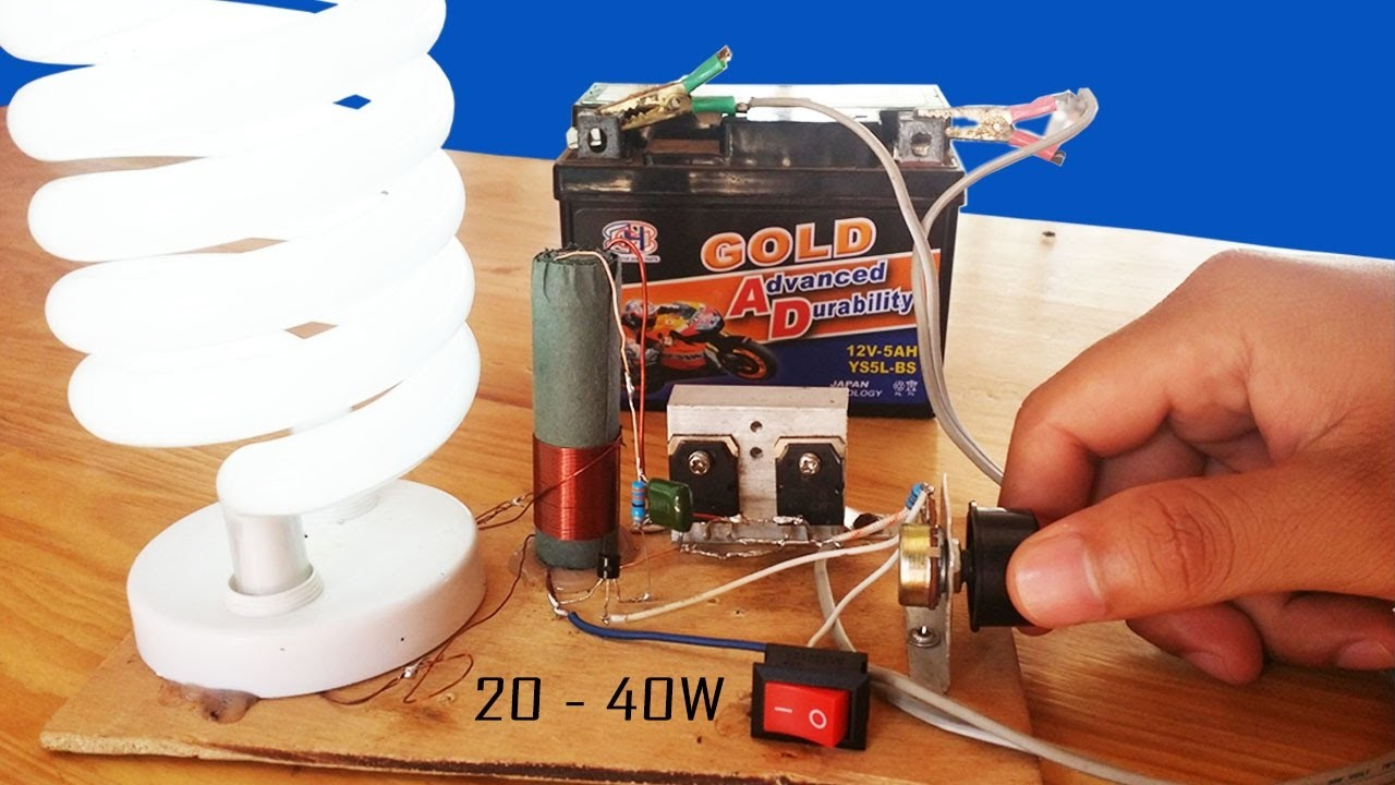 How to make  Fluorescent Lamp Adjustable Inverter Circuit 12V DC 20W   40W